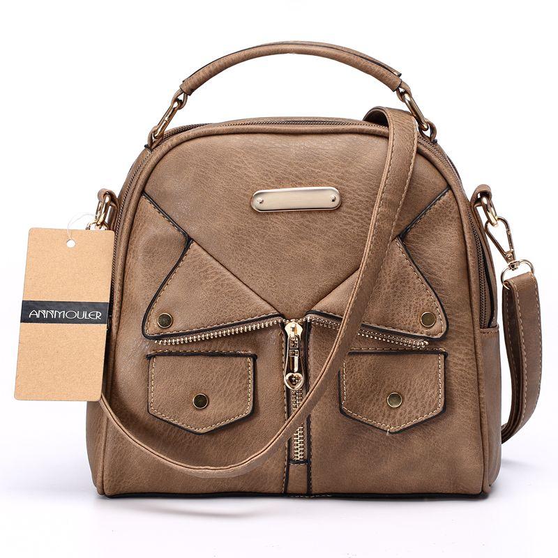 Annmouler marque femmes Messenger sac femme Double sac à main à glissière Pu cuir mode dames sac à bandoulière femmes sac à bandoulière