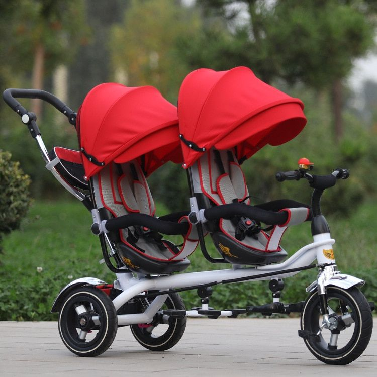 Free Shipping Three Wheels Bike Jin Ming Twins Children Tricycle Double Hand Push Bicycle Seat Two-Way Baby Stroller