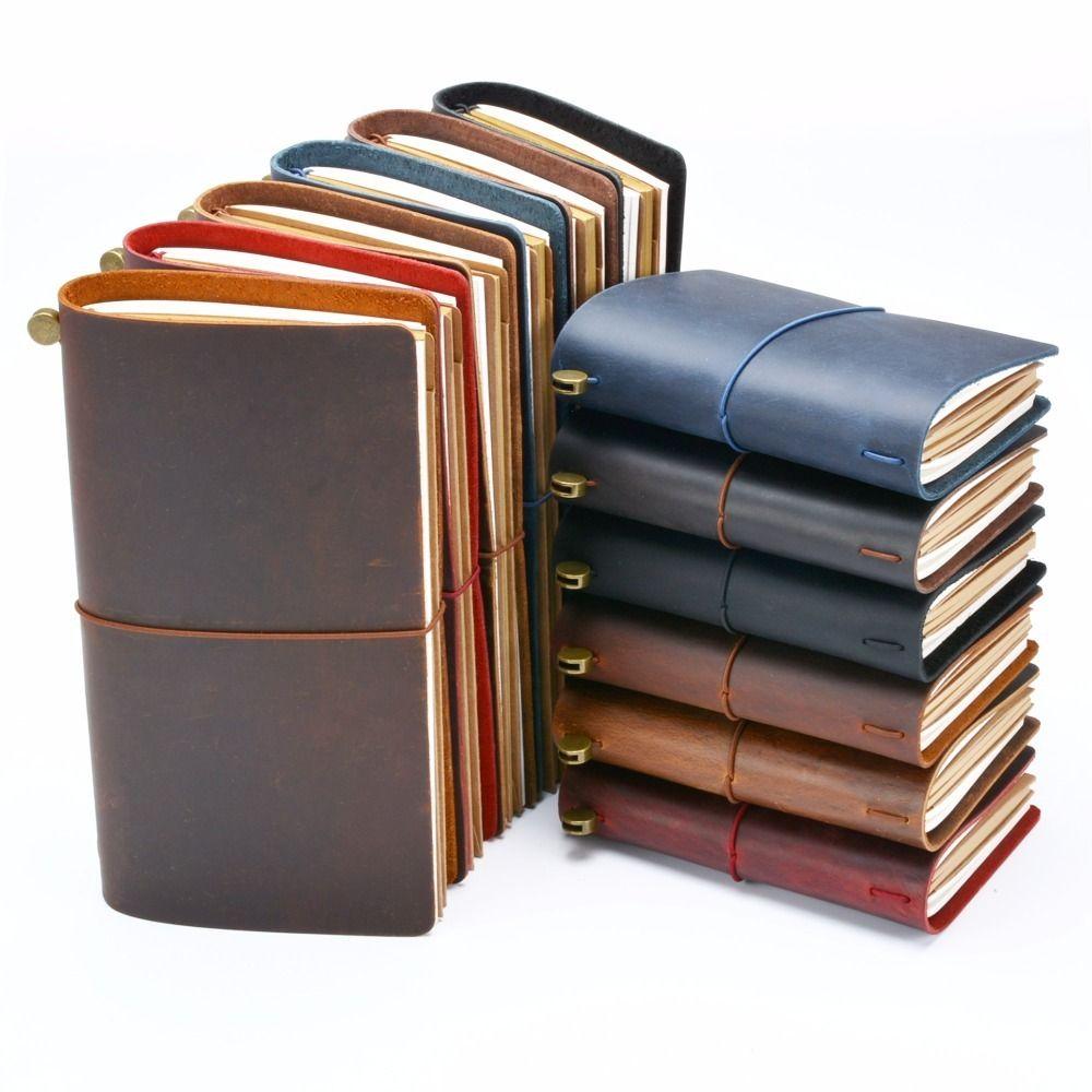 Hot Sale 100% Genuine Leather <font><b>Notebook</b></font> Handmade Vintage Cowhide Diary Journal Sketchbook Planner Buy 1 Get 11 Accessories Gift