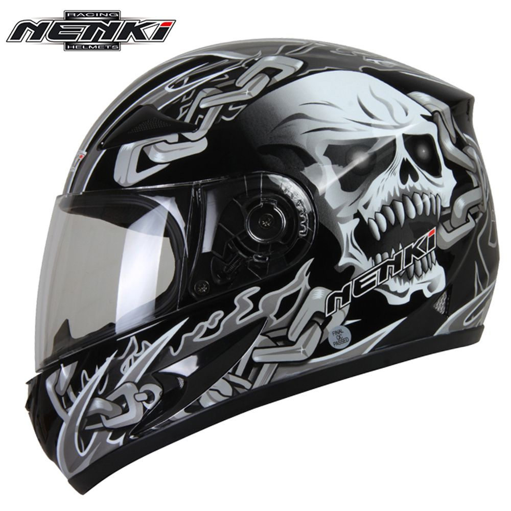 NENKI Motorcycle Full Face Helmet Snowmobile ATV Motorbike Street Bike Motor Riding Racing with Clear Lens Shield for Men Women