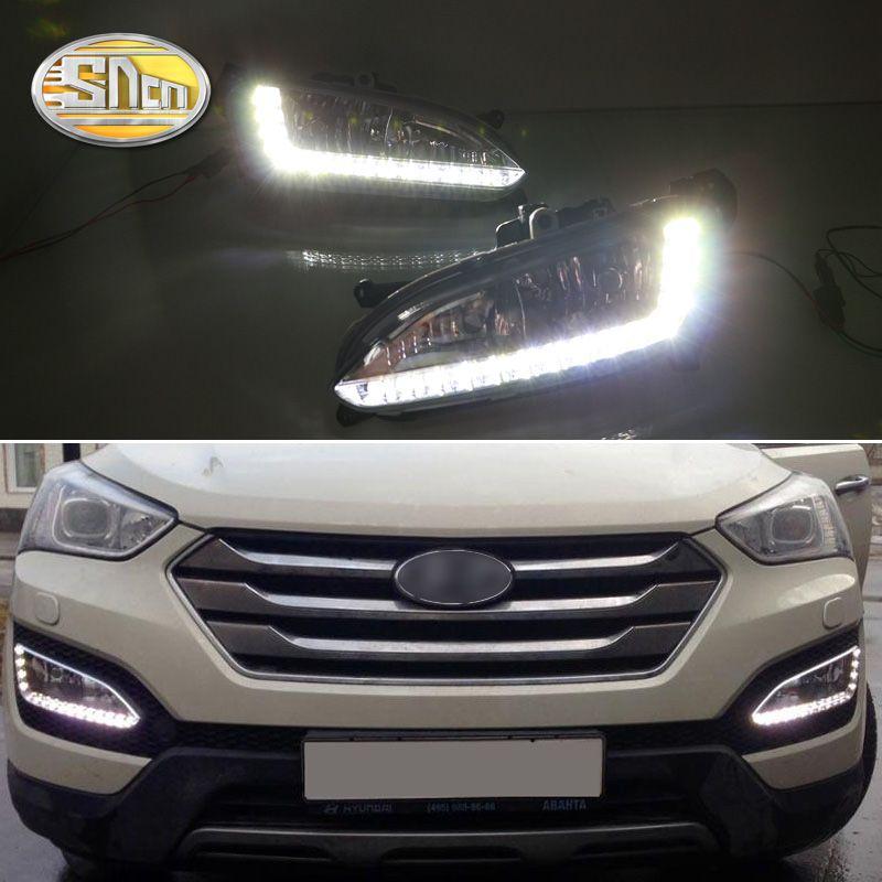 For Hyundai Santa Fe IX45 2013 2014 2015,ABS Waterproof Super Brightness 30W 12V Car DRL LED Daytime Running Light SNCN