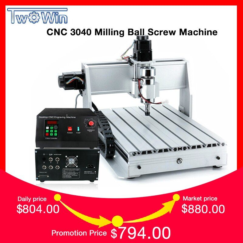 1.5KW Three-axis Ball screw CNC Router Four-axis Engraver Engraving Milling Drilling Cutting Machine CNC 3040