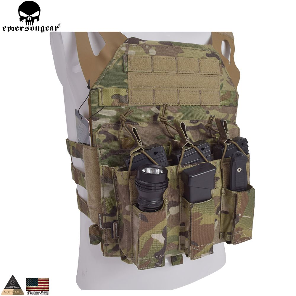EMERSONGEAR 5.56 Triple Open Top Pistol Mag Pouch Airsoft Military Wargame Mag Pouch Tactical Molle Magazine Pouch EM6363