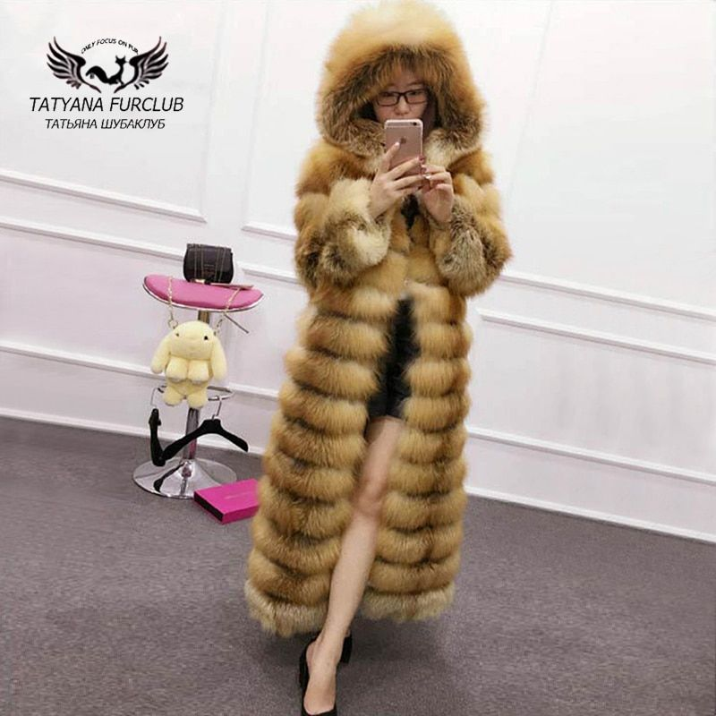 Tatyana Furclub Luxury Fur Coat,100% Real Value Natural Fur Coat,X-Long Winter Fur Coat with hood,Women's Fur Coat Female Jacket