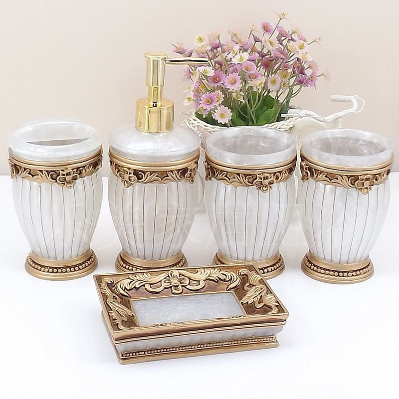 European Creative Bathroom Accessories Ceramic Bathroom Accessories Sets Toothbrush Holder/Soap Box Five Pieces