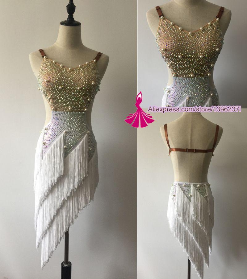 Jupe de danse latine pour femmes Sexy licou gland professionnel Costume de danse latine adulte Samba concours Latin robes de danse