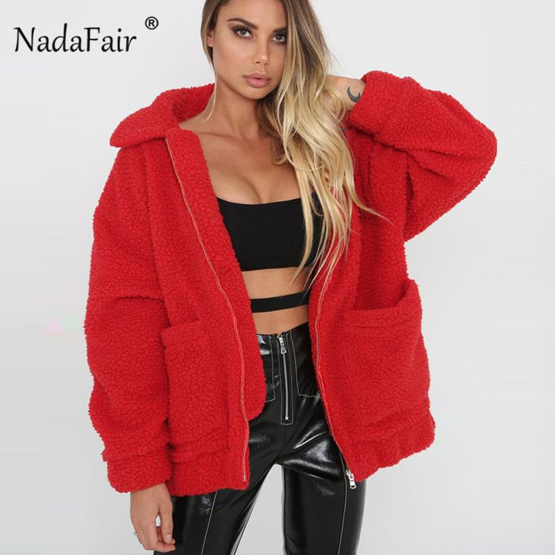 Nadafair plus size fleece faux shearling fur jacket coat women autumn winter plush warm thick teddy coat female casual overcoat