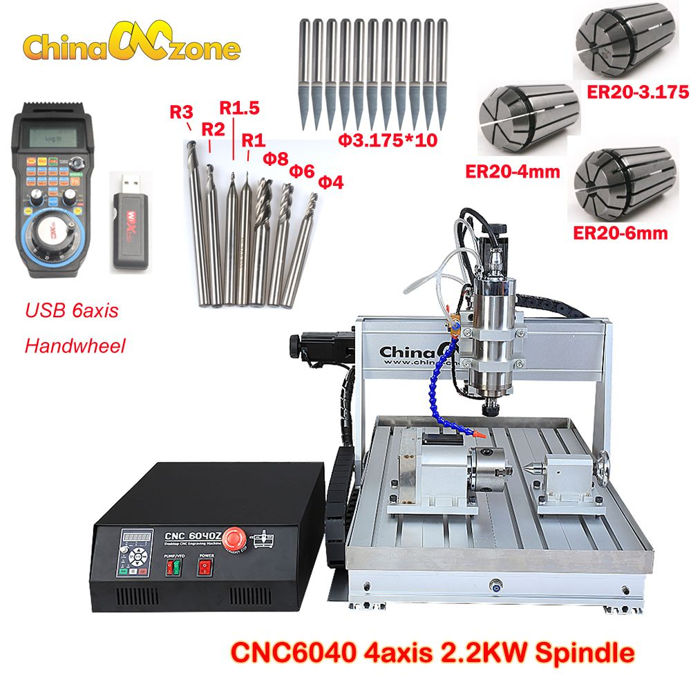 6040 4axis CNC 2200w engraving machine usb port water cooling carving machine ball screw cutting machine with water chiller