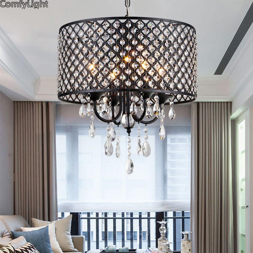 Modern crystal iron Pendant Light cage Lampshade Pendant Lamp Kitchen Hanging Light Fixture Lustre de Led Ceiling luminaire