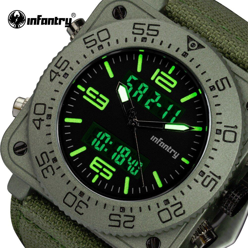 INFANTRY Top Brand Men Watch Sports Military Tactical Quartz Watches LED Analog Digital Durable Nylon Strap Wristwatches Relojes
