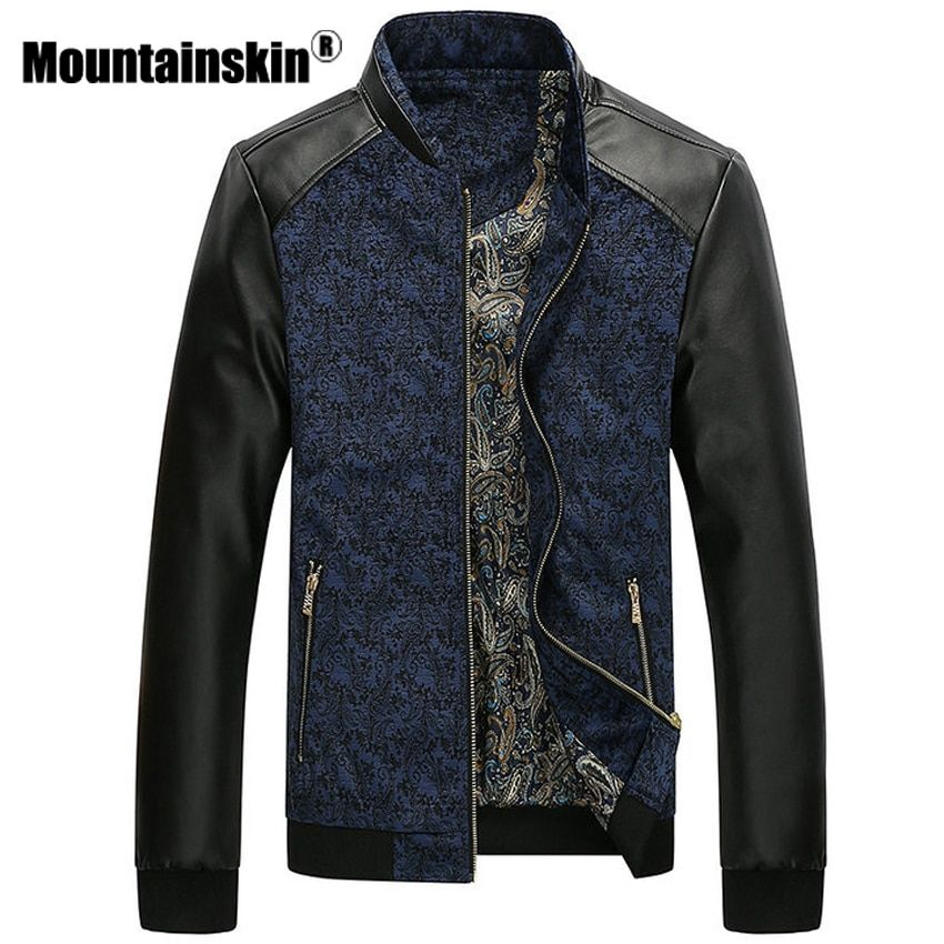 Mountainskin PU Leather Patchwork Men's Jackets 4XL <font><b>Autumn</b></font> Fashion Coats Men Outerwear Stand Collar Male Clothing Slim Fit SA332