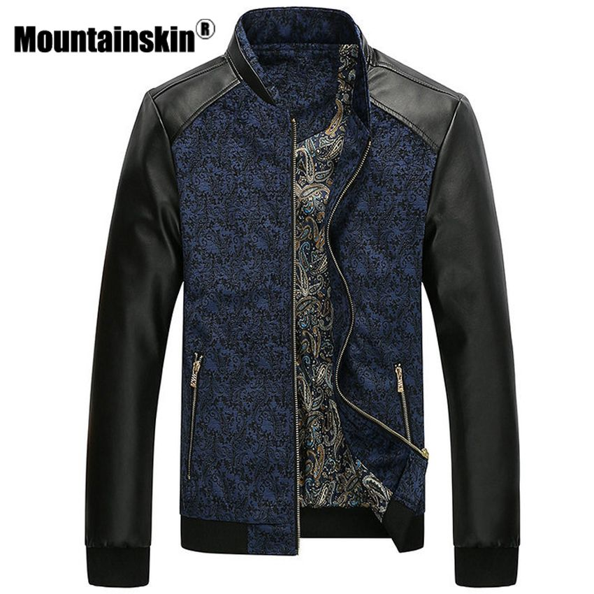 Mountainskin PU Leather Patchwork Men's Jackets 6XL Autumn Fashion Coats Men Outerwear Stand Collar Male Clothing Slim Fit SA332