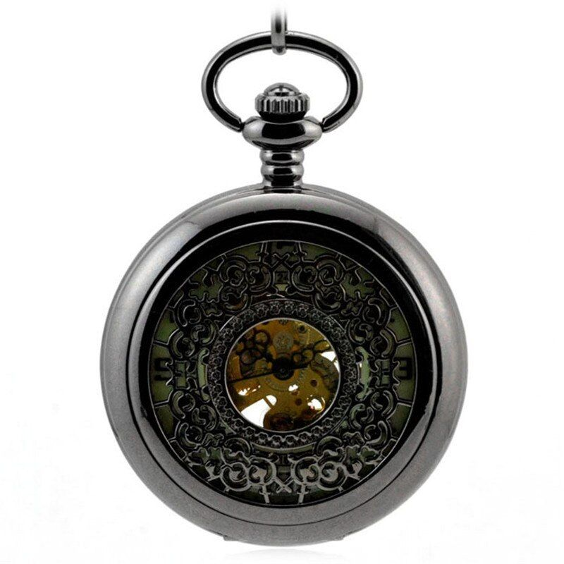 Luminous Black Retro Automatic Mechanical Pocket Watch Men's Watch Women Hollow Key Chain Clock Pendant Reloj de Bolso Saat