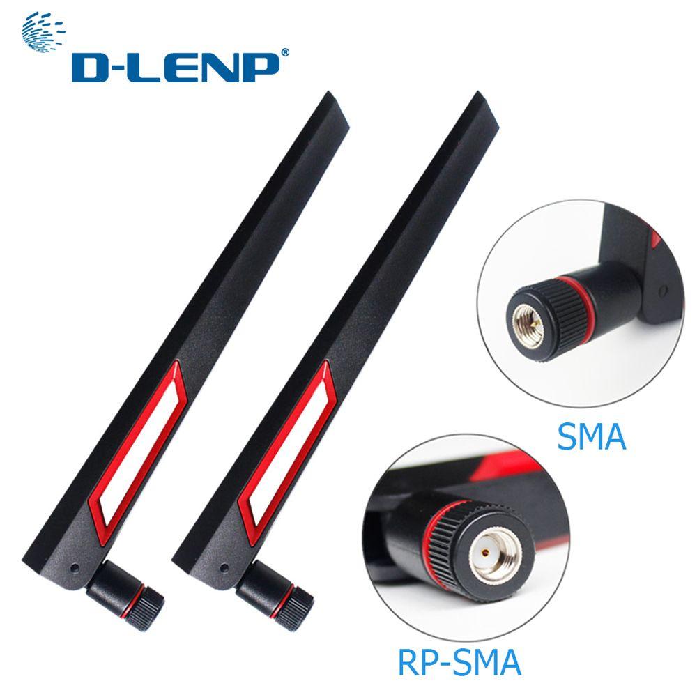 Dlenp 2pcs 2.4G 5G 5.8G wifi Antenna Dual Band 12dBi Antenna Router Antenna SMA Male (pin)/ RP-SMA Male(hole)