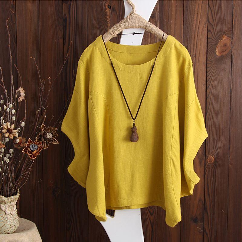 Plus Size 2018 ZANZEA Women Batwing Sleeve Loose Summer Blouse Solid Casual Baggy OL <font><b>Work</b></font> Top Cotton Linen Shirt Yellow Blusas