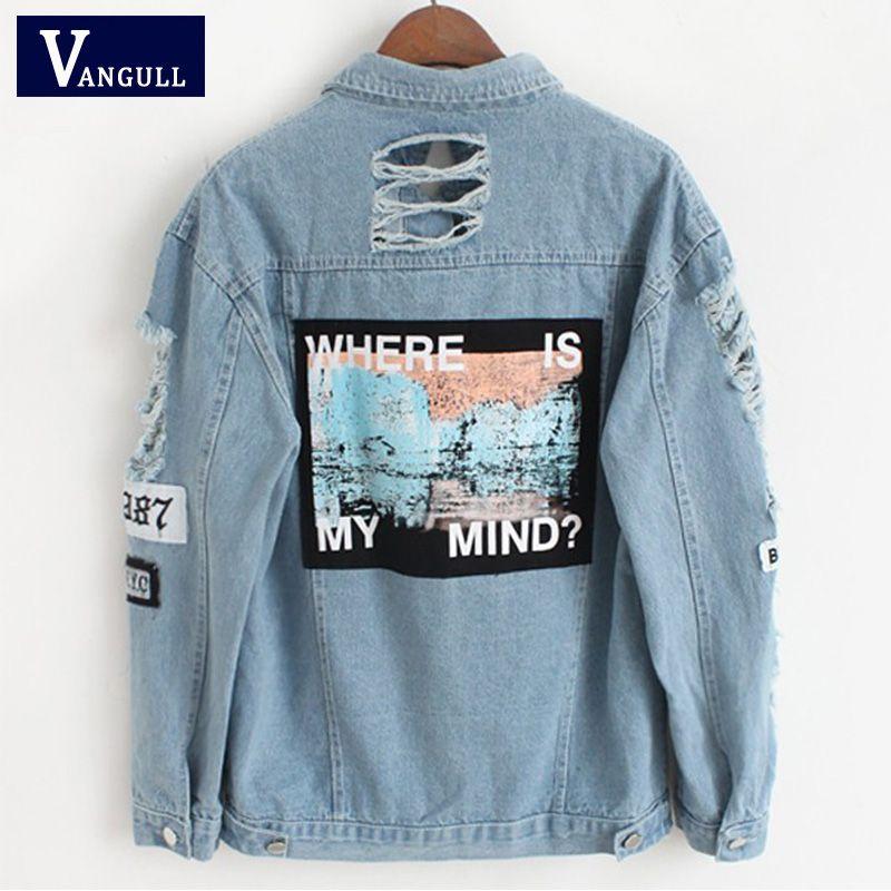 Femmes effiloché Denim Bomber veste Appliques imprimer où est mon esprit dame Vintage élégant Outwear automne mode manteau Vangull 2018