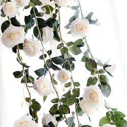 Asypets 180 Cm Buatan Tangan Mawar Sutra Buatan Tanaman Merambat Dekoratif Bunga untuk Rumah Dinding Taman Pesta Pernikahan dekorasi-20