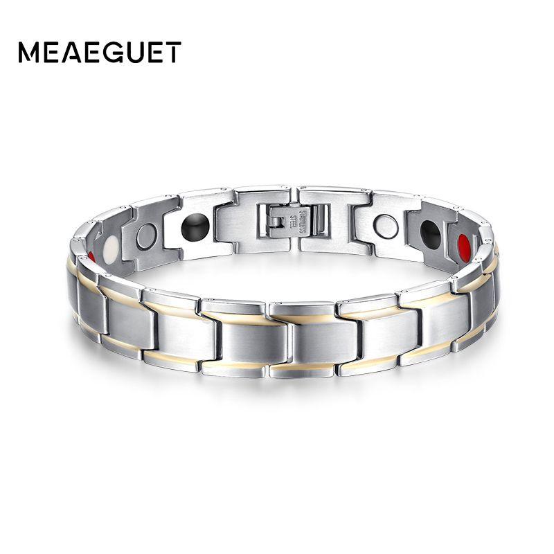 Meaeguet Magnetic Health Bracelets for Men Stainless Steel Luxury Fashion Jewelry Pulsera Bike bijoux