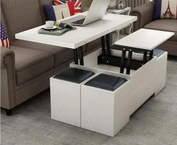 Pliage table élévatrice et table. échelle multi-fonctionnelle de stockage thé table avec tabourets