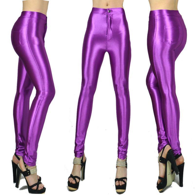 10 couleurs nouveau printemps mode brillant coloré skinny AA disco pantalon pour femmes fille sexy taille moyenne collants