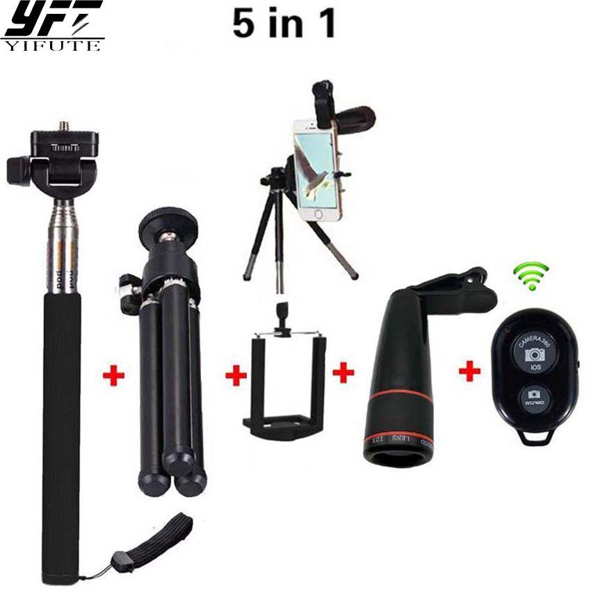 5in1 Téléphone Camera Lens 12X Téléobjectif Zoom Selfie Bâton Manfrotto + Mini Trépied + Bluetooth Obturateur Remoter pour Xiaomi iPhone Lentille