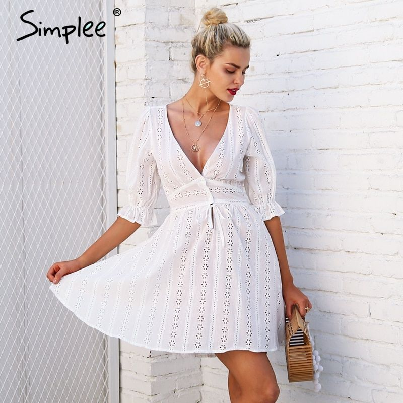 Simplee Sexy v neck hollow out lace dress women Half sleeve tie up autumn dress female Casual button winter white dress vestido