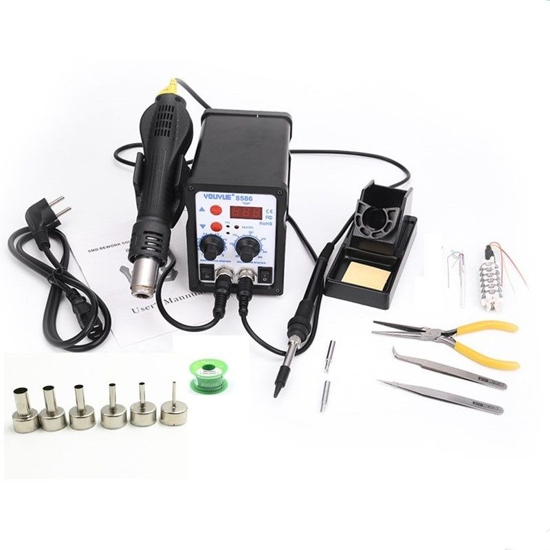 8586 2 In 1 ESD Hot Air Gun Soldering Station Welding Solder Iron For IC SMD Desoldering+Heating <font><b>core</b></font>+Tin wire+ 6pcs nozzles