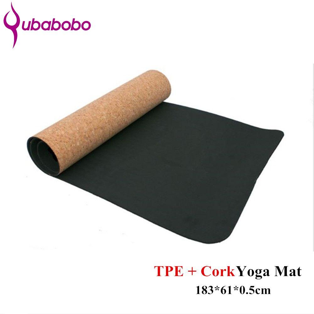 4/5/6MM Non-slip TPE+Cork Yoga Mats For Fitness Natural Pilates Gymnastics Mats Sport Mats Yoga <font><b>Exercise</b></font> Pads Massage Mats
