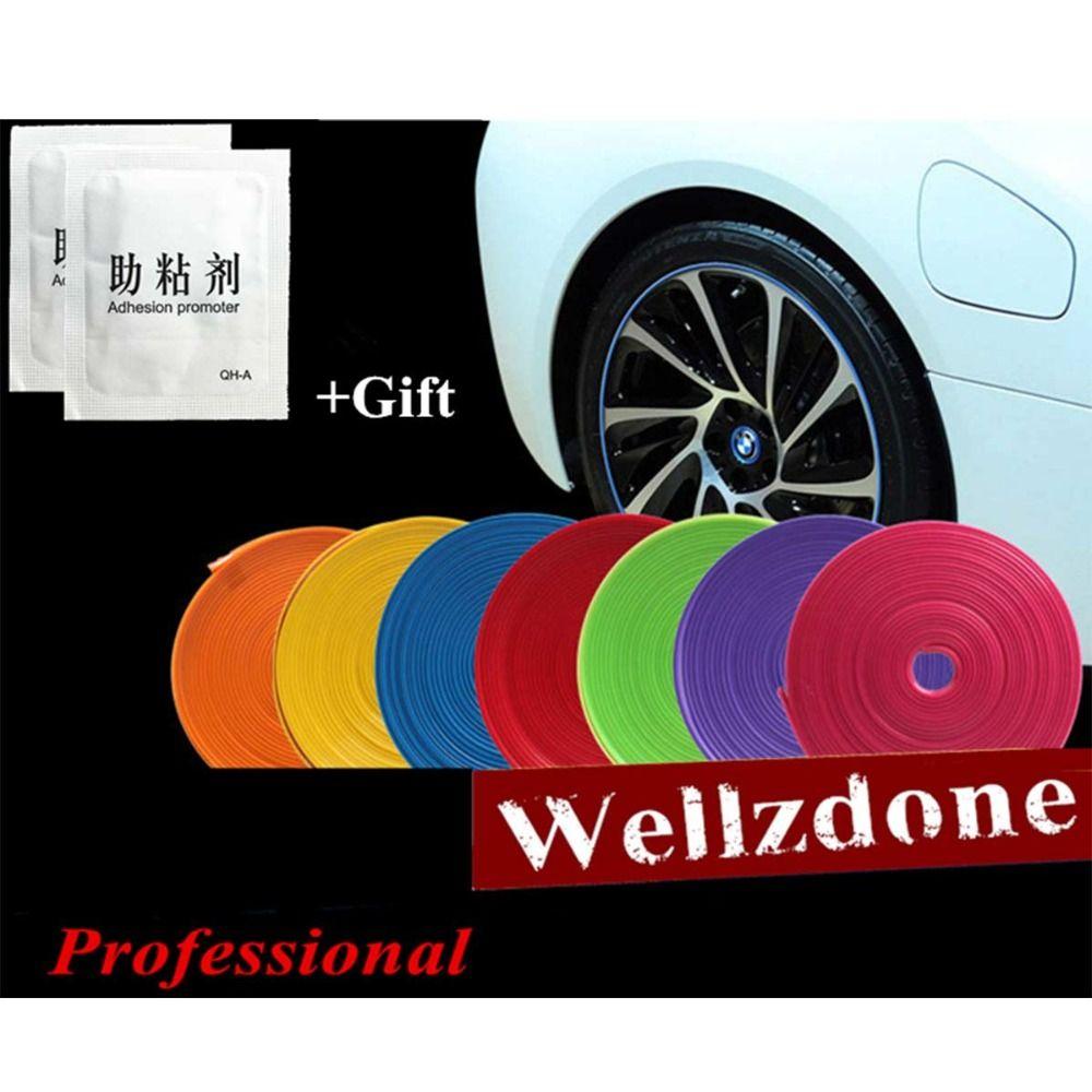 8M/Roll 2019 New Wheel Rim Protector Care Auto Motor Wheel Rim Covers Rim Car Styling Self adhesive Red Blue Black Gray Yellow