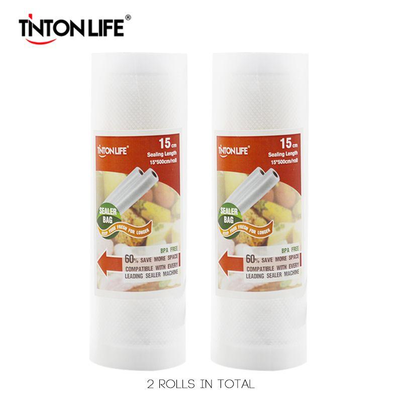 TINTON VIE 15 cm * 500 cm 2 Rouleaux/set Vide Scellant De Stockage Sacs Grade pour Sous Vide et foodsaver