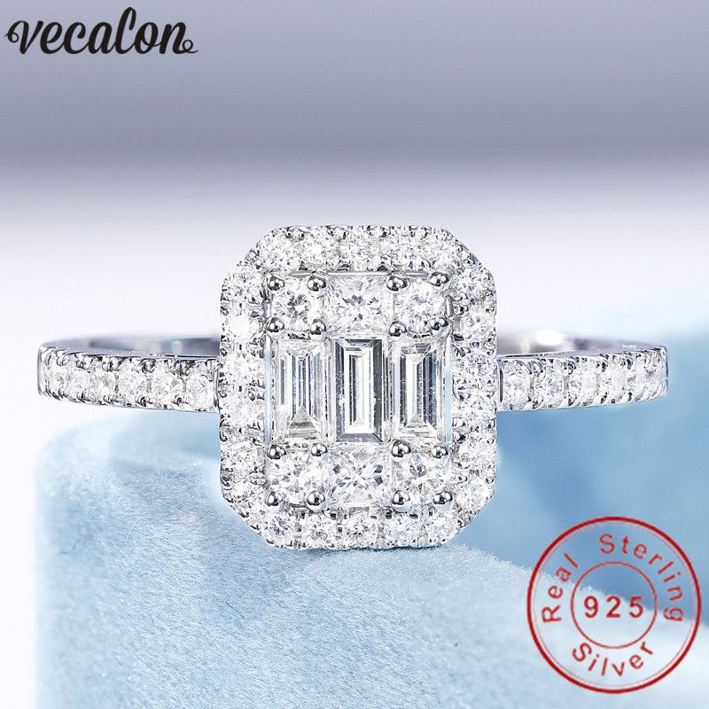 Vecalon Jewelry 100% Real 925 Sterling Silver promise ring T shape 5A Zircon Cz Engagement wedding Band rings for women Bridal