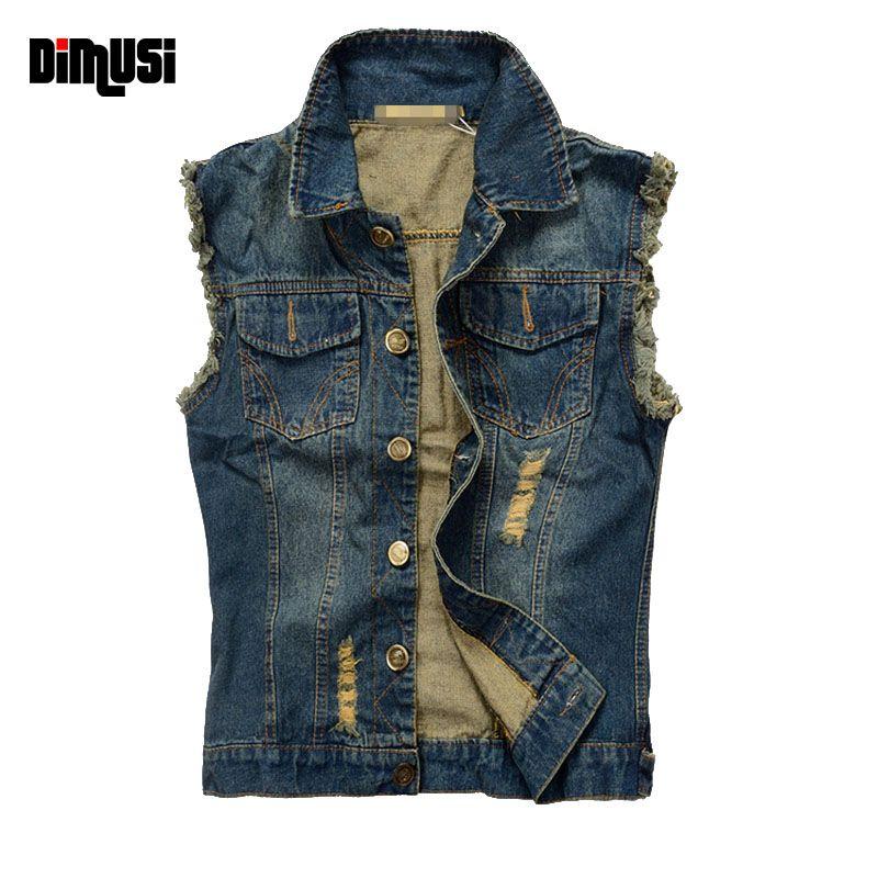 DIMUSI 2017 Ripped Mens Denim Vest Male Tank Top Washed jeans waistcoat Man Cowboy Brand Hip Hop Sleeveless Jacket 6XL,YA564