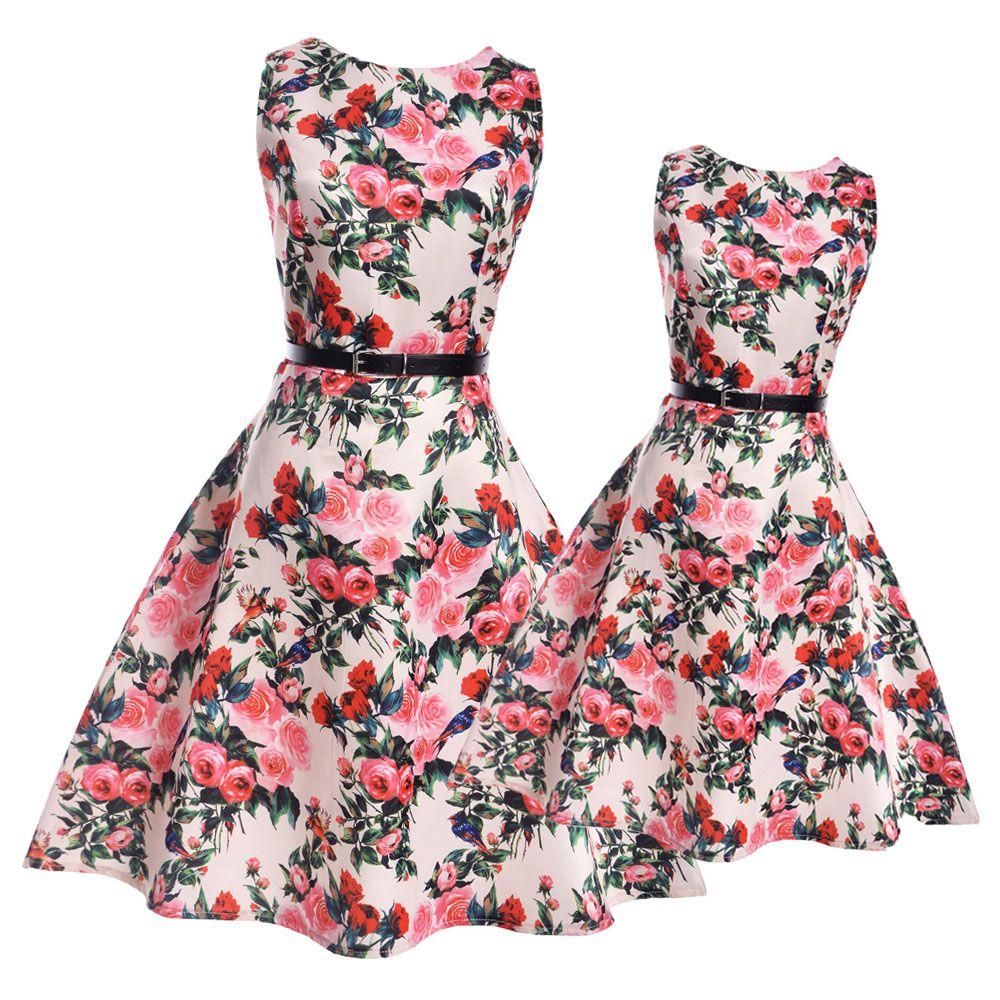 Платья для мамы и дочки большие Платье с цветочным рисунком для девочек-подростков повседневные платья Одежда для мамы и дочки семейная Оди...