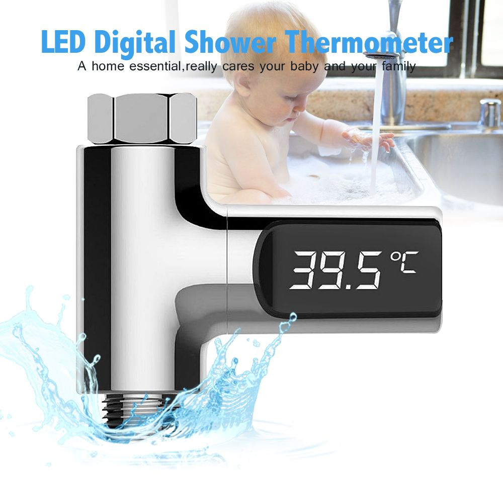 LW-101 LED Display Home Water Shower Thermometer <font><b>Flow</b></font> Self-Generating Electricity Water Temperture Meter Monitor For Baby Care