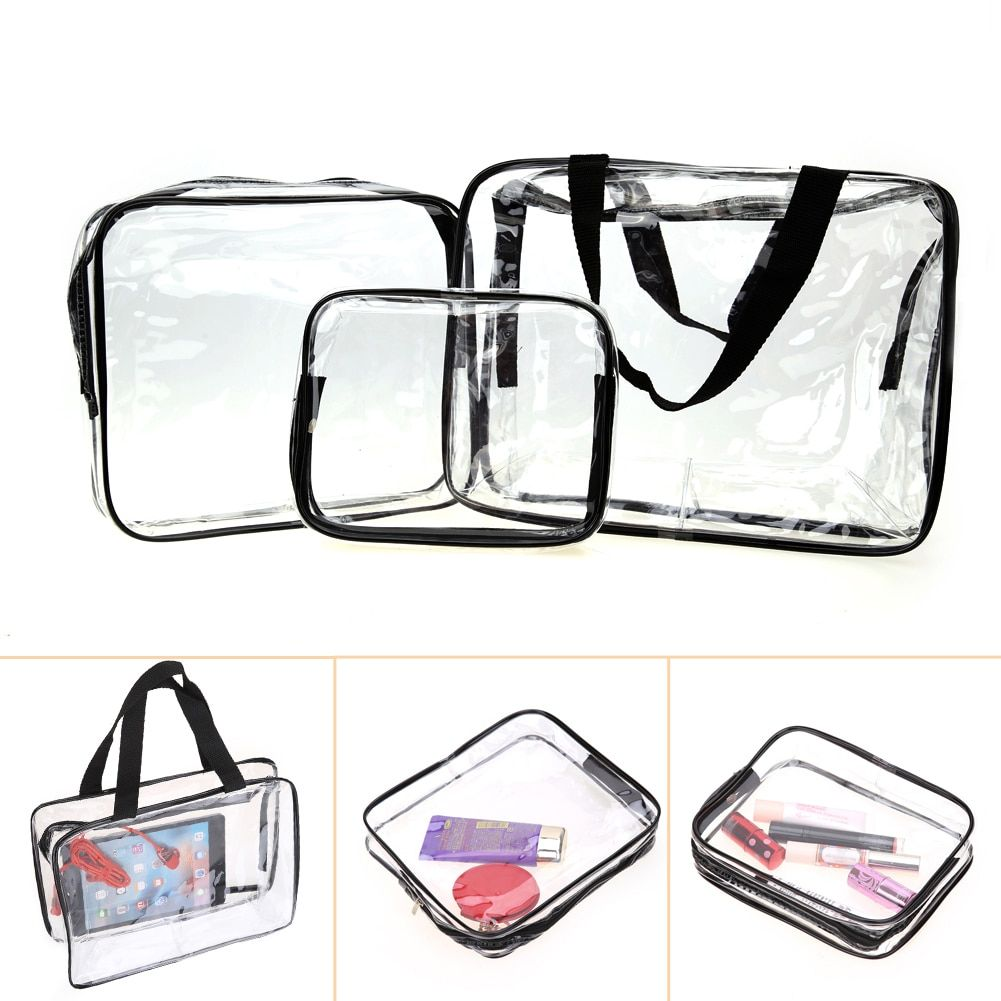 3Pcs/set Transparent Travel Cosmetic Bag Makeup Case Waterproof Toiletry Pouch Bathroom Home Storage Bag