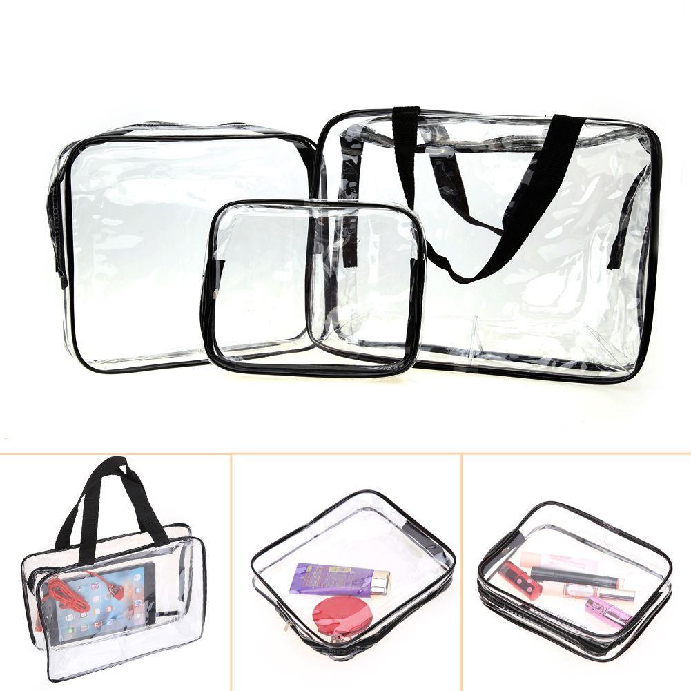3Pcs/set Transparent Travel Cosmetic Bag Makeup Case Waterproof Toiletry Pouch Bathroom Home Storage Bag