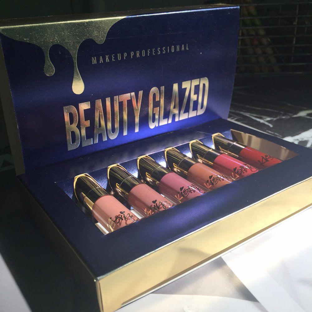 Haute qualité beauté glacé 6 pièces/ensemble rouge à lèvres brillant à lèvres mat longue durée imperméable outils de maquillage 2018 nouveau 88