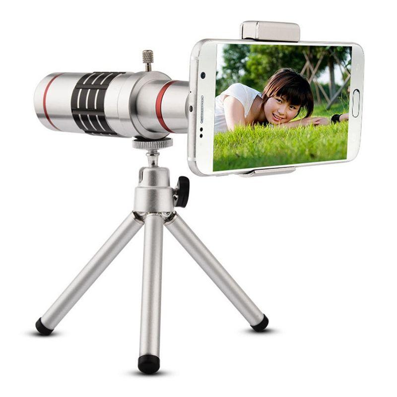 Universal 18X Zoom Téléphone Télescope Téléobjectif Camera Lens + Trépied En Aluminium De Protection Shell Pour iPhone Android Mobile Téléphones