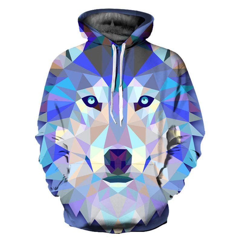 Mr.1991INC Новая мода волк Худи Для мужчин/Для женщин Тонкий 3D Кофты с шляпой печати красочный Блоки волк Толстовки с капюшоном