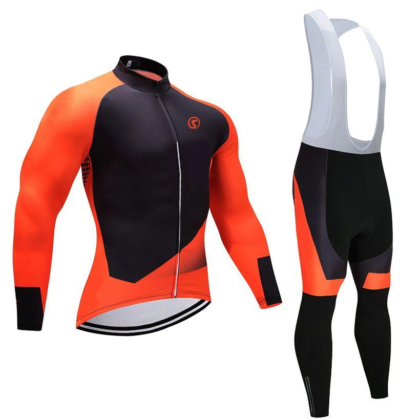 2018 Winter season pro bike jersey 9D gel pad bicycle pants set Orange MTB Ropa Ciclismo Thermal Flee pro bicycling Maillot wear