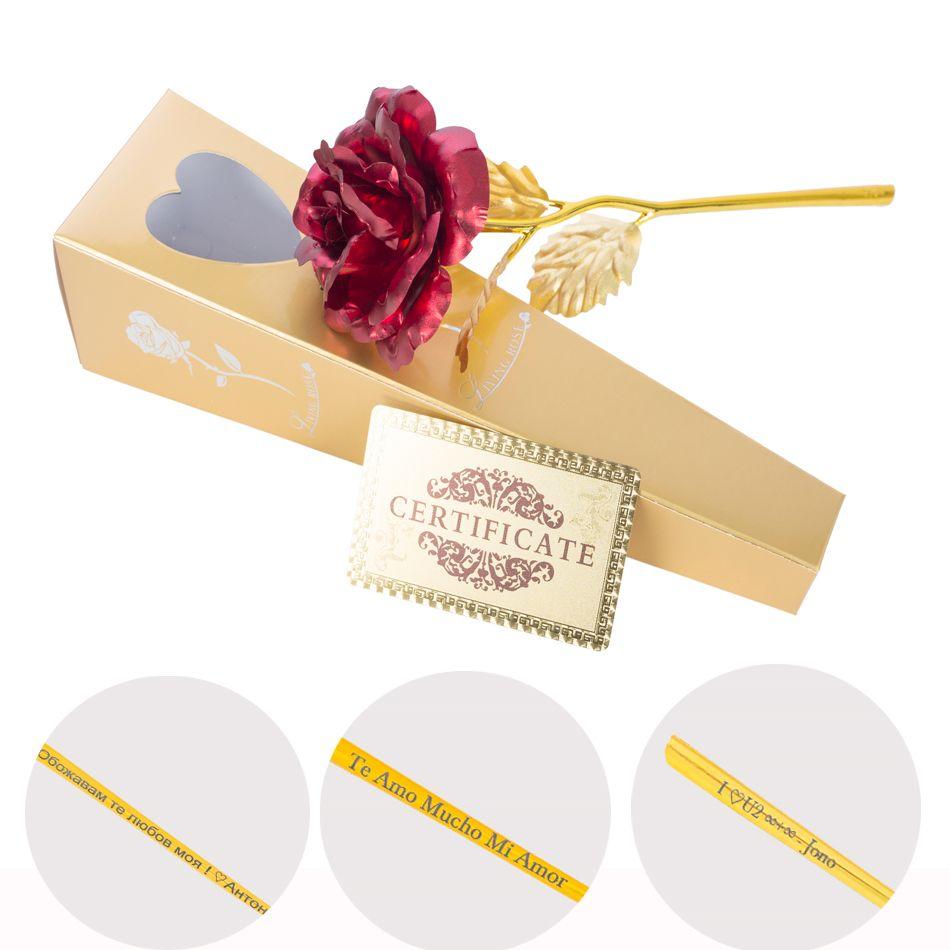 24 k feuille d'or plaqué Rose décoration de mariage or Rose plongé artificiales or 24 k Rose fleur artificielle personnalisée