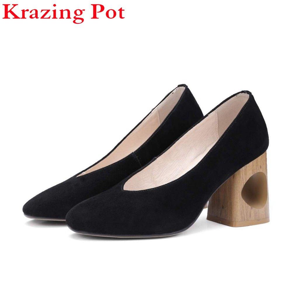 Krazing Pot Marque Chaussures Femmes Mode Creux Épais Med Talon Véritable Pompes en cuir Glissement sur Dame Chaussures Bout Carré Nu pompes L88