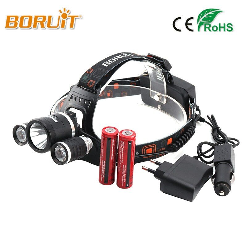 <font><b>Boruit</b></font> 8000LM XML L2+2R5 LED Headlight 18650 Battery Head Torch 4Mode Headlamp Flashlight For Fishing Hunting RJ-3001 Head Light