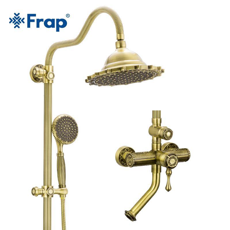 Frap Bad Dusche Wasserhahn Set Bronze Retro Stil Badewanne Armaturen Dusche Wasserhahn Bad Dusche Wasserfall Dusche Kopf Wand Mischer F2447