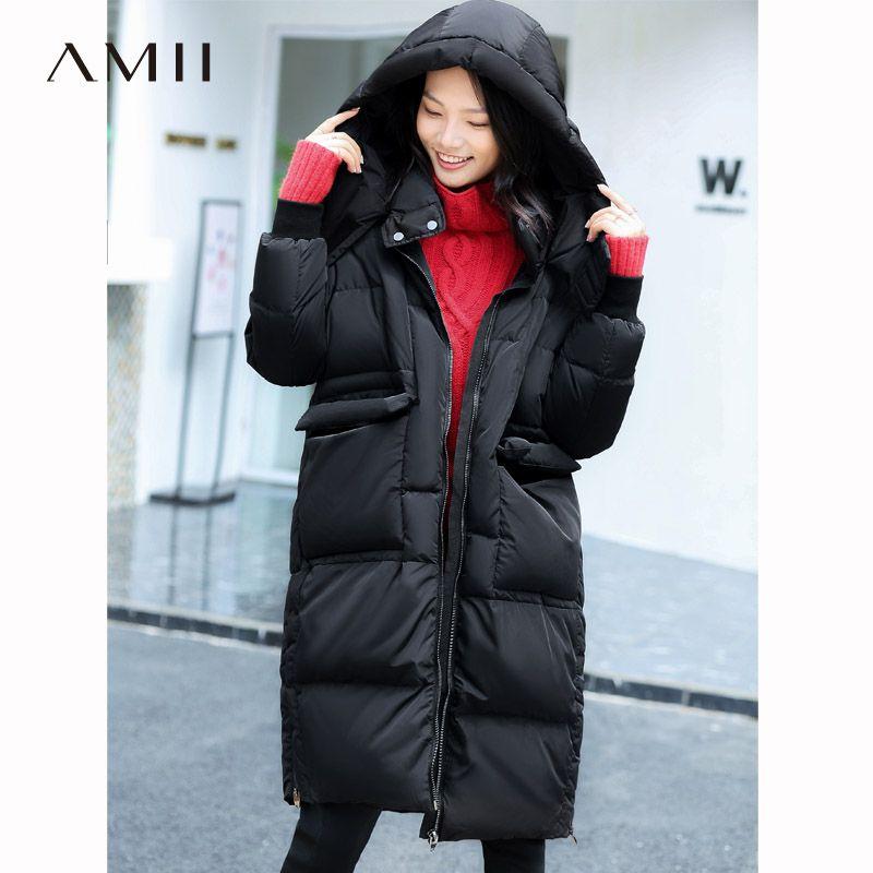 Amii Frauen 2018 Original Design Winter 90% Weiße Ente Unten Mantel Hoodies Knie Länge Weibliche Mode Licht Jacke Mäntel
