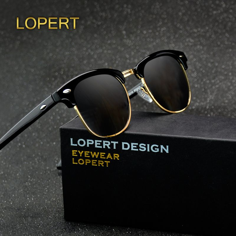 LOPERT Retro Rivet Polarized Sunglasses Men Women Sun Glasses Classic Brand Designer Unisex Glasses Fashion <font><b>Male</b></font> Eyewear De Sol