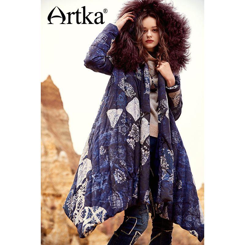ARTKA 2018 Winter Frauen Vintage Print 90% Weiße Ente Unten Schärpen Mongolei Schafe Pelz Kragen Unregelmäßigen Dicke Daunen Jacke ZK10675D