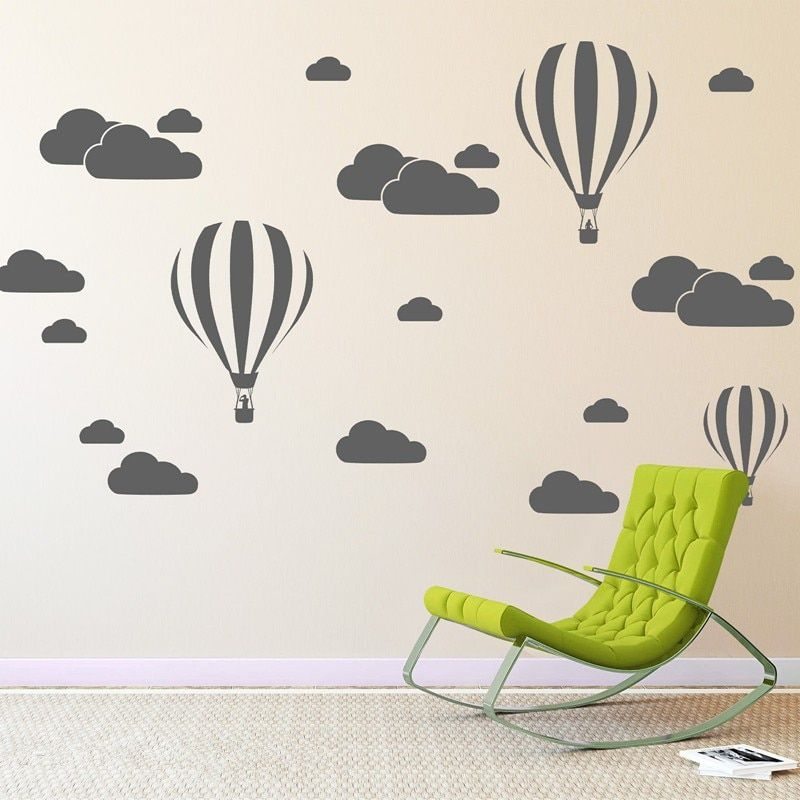 Nuage D'hélium Ballon Stickers Muraux Pour Enfants Chambres Vinyle Home Decor Décoration Nursery Chambre DIY Peint Amovible Bande Dessinée N824