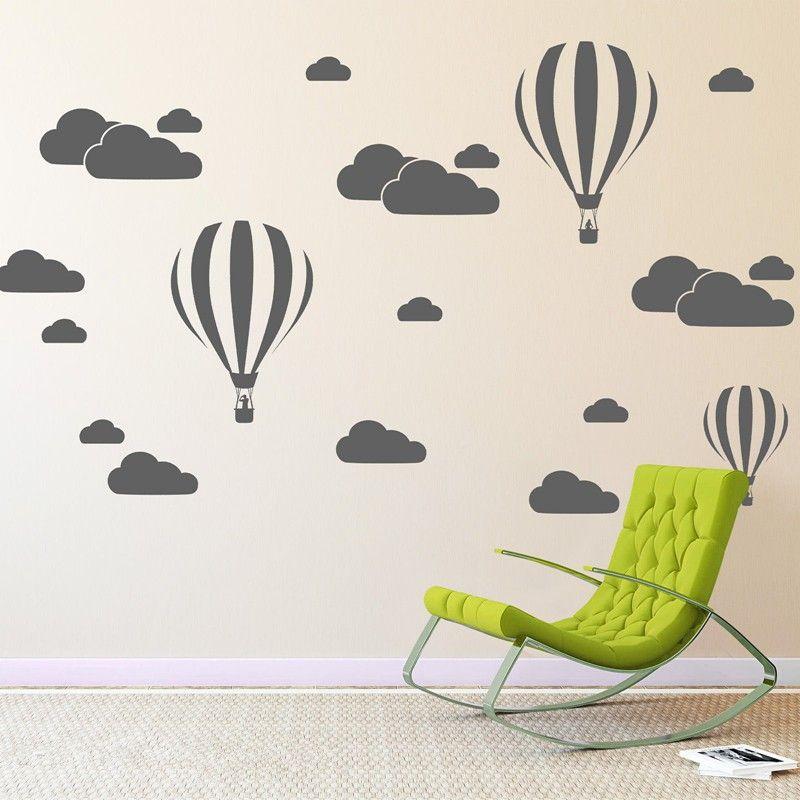 Nuage hélium ballon Stickers muraux pour enfants chambres vinyle décor à la maison pépinière décoration chambre bricolage Mural amovible bande dessinée N824