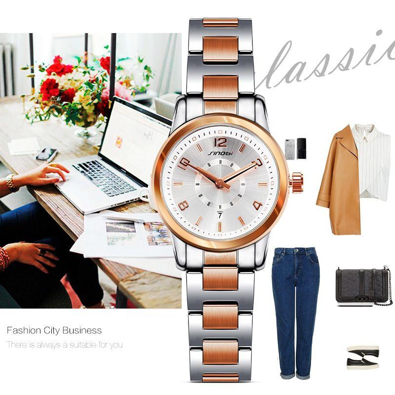 SINOBI Brand Fashion Women Watches 32mm Dial Diameter Luxury Quartz Watch Women <font><b>Reloj</b></font> Mujer Party Ladies Watch Montre Femme 2018